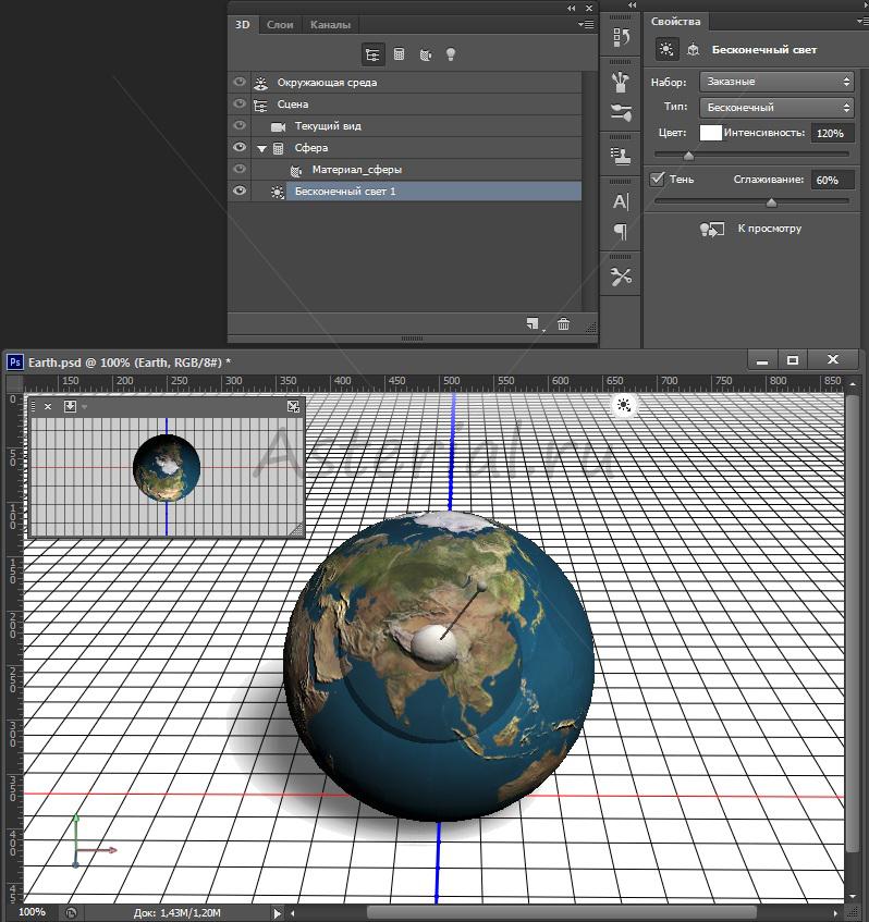 Как нарисовать 3D планету Земля в Photoshop